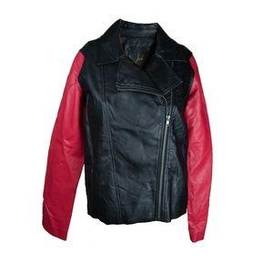 Black Red Vegan Leather Motorcycle Jacket